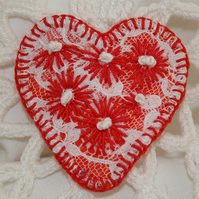Embroidered Heart Brooch - Red Daisies on lace