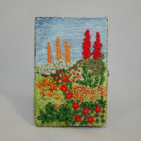 SALE - Cottage Garden Passport Cover - Felted and Embroidered