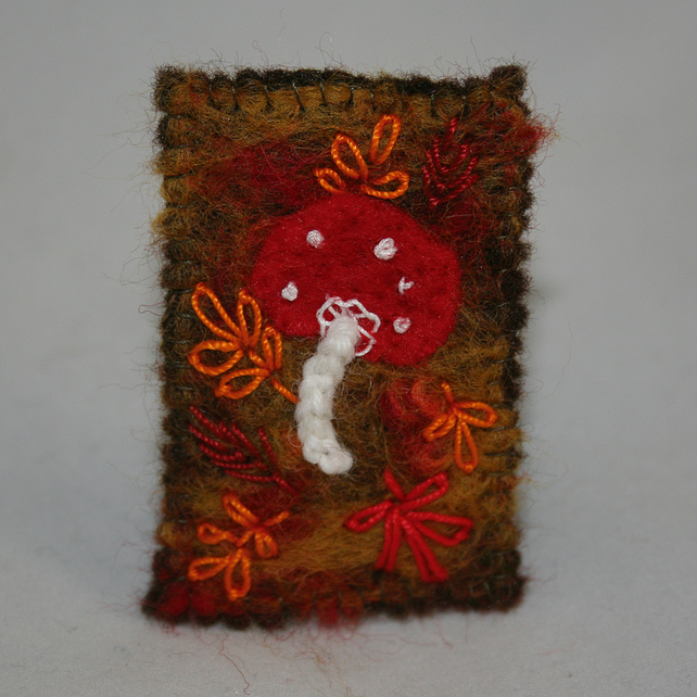 Toadstool brooch - embroidered and felted