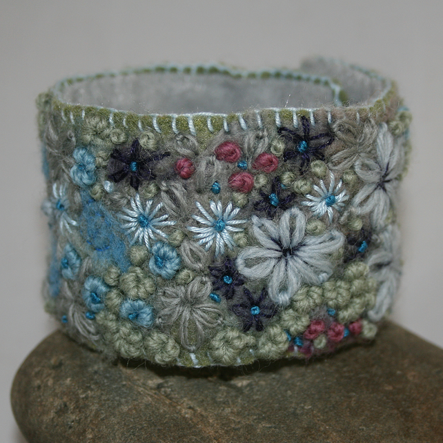 Embroidered and Felted Cuff - Blue and Pink Garden border