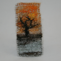 Sunset brooch - embroidered and felted