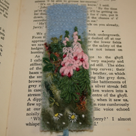SALE - Hedgerow - Embroidered and felted bookmark