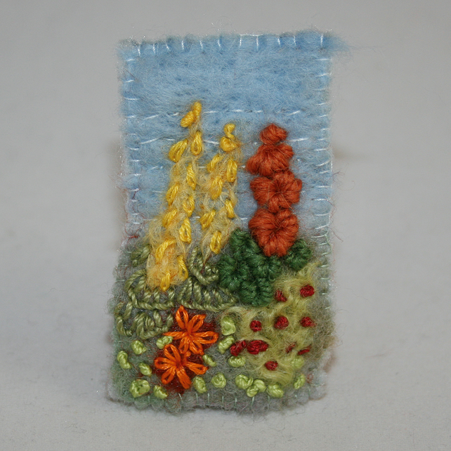 Cottage Garden Brooch - embroidered and felted