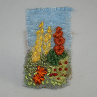 SALE Cottage Garden Brooch - embroidered and felted