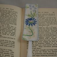 Blue Daisy -  embroidered vintage linen bookmark