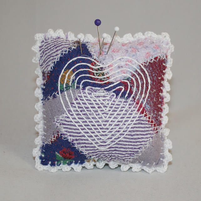 Embroidered Heart Pincushion on Purple Patchwork