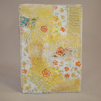 SALE - Patchwork Phone Case - Embroidered Flowers on Yellow Case