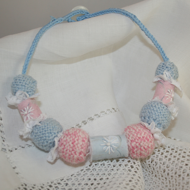 Pastel Beads - Textile necklace of knitted, lace and embroidered fabric beads