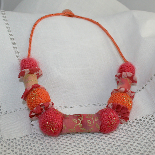 Hot Pink and Orange Textile Necklace