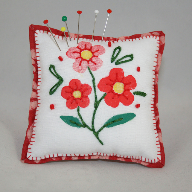 Hand Painted and Embroidered Pincushion - Red flowers