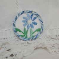 Embroidered Brooch from recycled linens