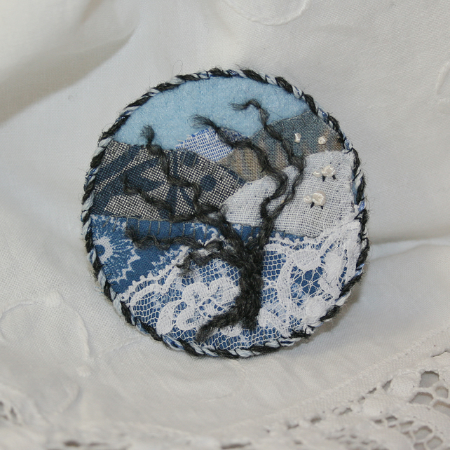 SALE - Embroidered Applique Brooch - Winter Tree