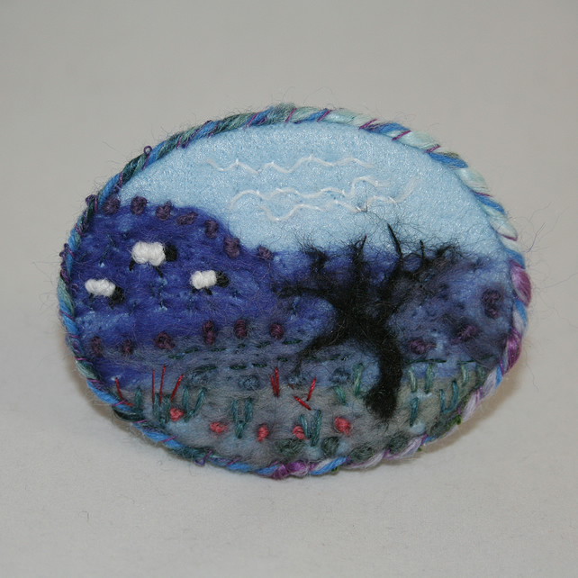 Embroidered Applique Brooch - Winter Tree