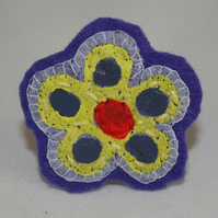 Brooch Yellow Indigo and Red Flower Painted, Stamped and Stitched