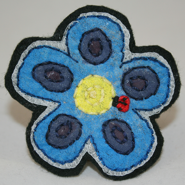 Ladybird Blue Flower Brooch - painted and stitched