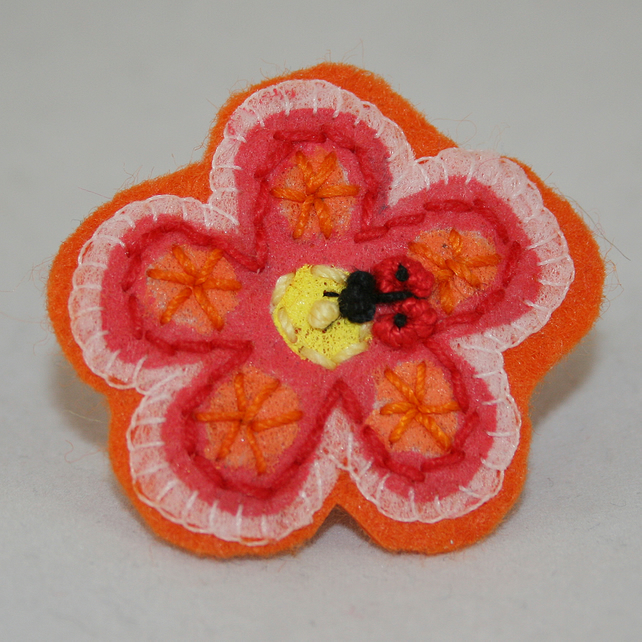 Ladybird Orange Flower Brooch - painted and stitched