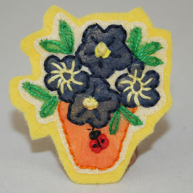 Ladybird Blue Pot Plant Brooch - painted and stitched