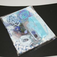 Blue Inspiration Pack A - Fabrics, Fibres and Embellishments