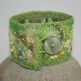 Embroidered Felted Meadow Cuff