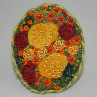 SALE Yellow Roses Brooch - Felted and Embroidered