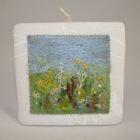 Meadow Plaque - Felted and Embroidered Wall Art