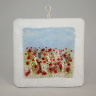 Harvest Poppies Plaque - Felted and Embroidered Wall Art