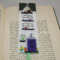 Embroidered Bookmark - Terraced House in Spring