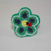 Ladybird Flower Brooch - painted and stitched