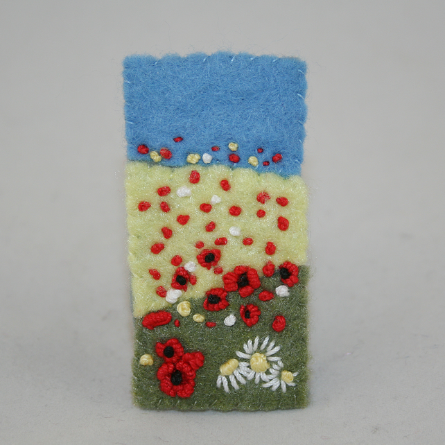 Embroidered Felt Brooch - Poppy Fields