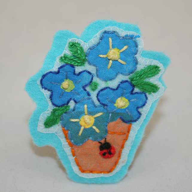 Ladybird Blue Potted Plant Brooch - painted and stitched