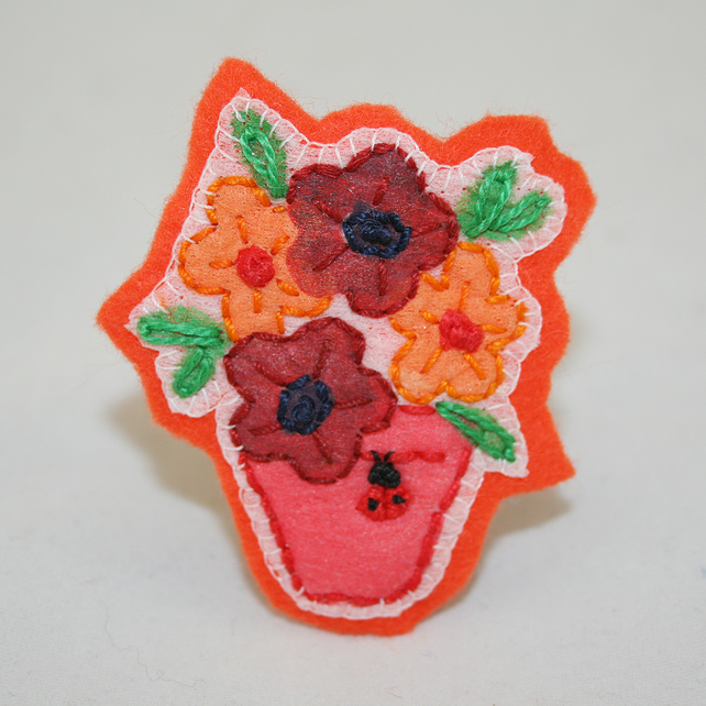 Ladybird Orange Potted Plant Brooch - painted and stitched