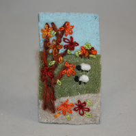 Felt Autumn Brooch - Embroidered Sheep and Autumn Leaves