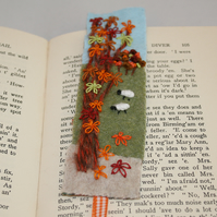 Autumn embroidered landscape bookmark