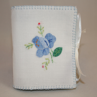 Embroidered Needlecase - featuring a blue rose applique from vintage linen