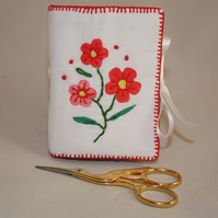 Printed and Embroidered Needlecase - Red Flowers