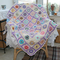 Crocheted Blanket Throw - Cream, Lilac and multi