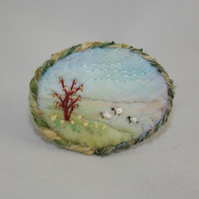 Embroidered Felted Spring Brooch - Hillside Sheep