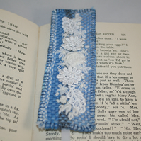 SALE - Embroidered Woven  Bookmark - White posy