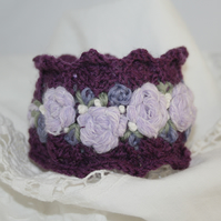 Embroidered and Knitted Cuff - Rose Garland on purple lace