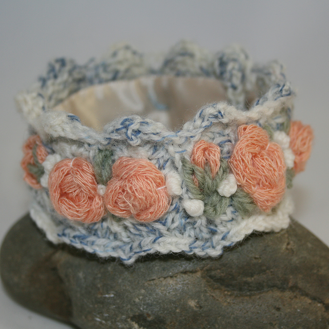 Embroidered and Knitted Cuff - Peach Rose Garland on blue and cream