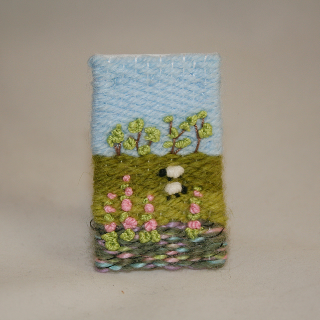 Embroidered Brooch - Sheep and Foxgloves