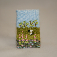 SALE Embroidered Brooch - Sheep and Foxgloves