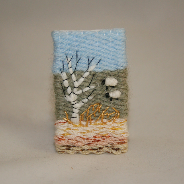 Embroidered Brooch - Silver Birch and sheep