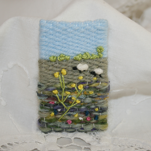 Embroidered Brooch - Sheep and Meadow