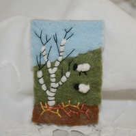 Embroidered Brooch - Early Spring Landscape sheep and silver birch