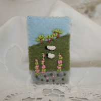 Embroidered Brooch - Summer Landscape sheep and foxgloves