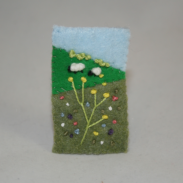Embroidered Brooch - Summer Meadow and sheep