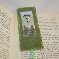 Embroidered Bookmark - Sheep and Foxgloves