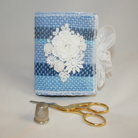 Embroidered Needlecase - white lace and embroidery on a hand-woven background