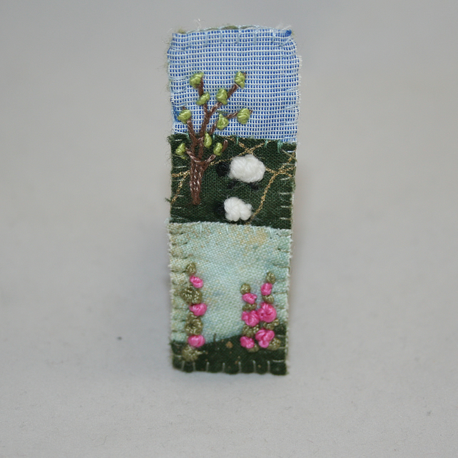 Embroidered Appliqued Brooch - Foxgloves and sheep